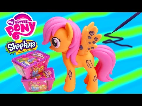 MLP Design-a-Pony Scootaloo Pegasus My Little Pony Wild Rainbow Shopkins Blind Bags Review Craft Toy
