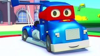 Carl the Super Truck helps his friends the Racing Car, the Train or the Ambulance in Car City