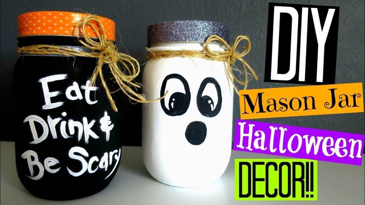 diy halloween decor | mason jar decorations!! - youtube