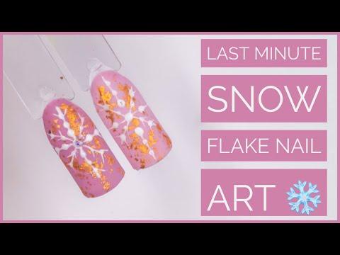 Christmas Nail Art Tutorial   Snow Flake Nail Art  Last Minute Tutorial