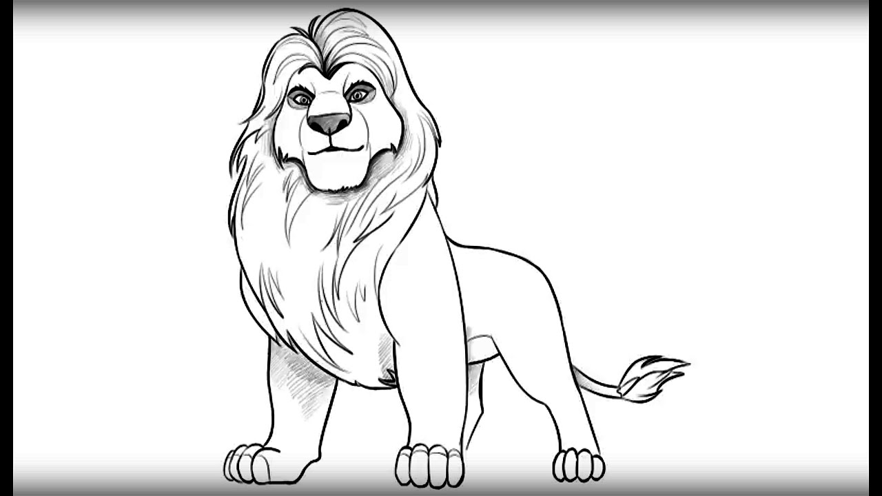 How To Draw Mufasa From Lion King Youtube Drawing King