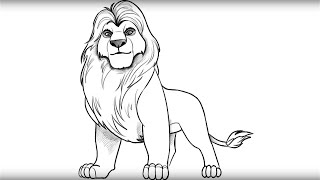 How to draw Mufasa from Lion King