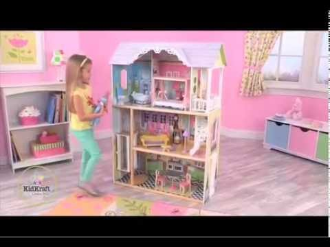 maison de poup e en bois kaylee kidkraft youtube. Black Bedroom Furniture Sets. Home Design Ideas
