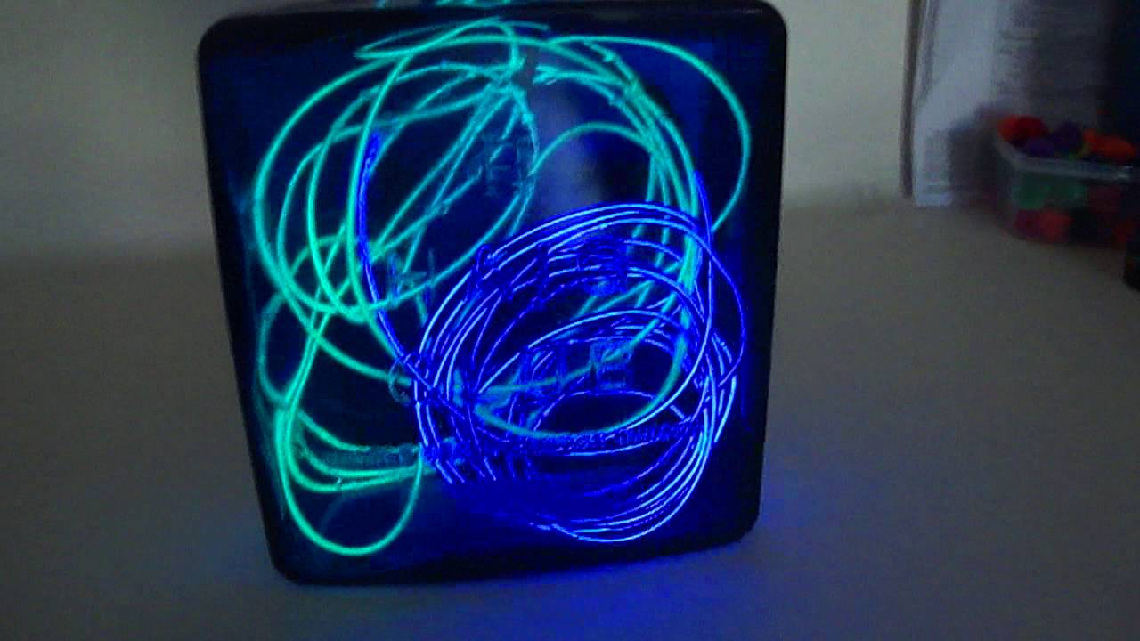 EL Wire art inside blue expensive scotch 750ml glass bottle w/ solid ...