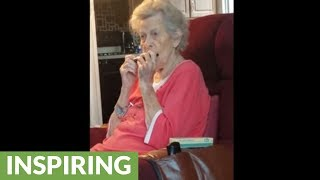 Grandma with Alzheimer's can still play the harmonica