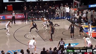 James Harden waves off double team while guarding Giannis Antetokounmpo then Giannis shoots this...