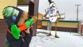 NerfWar snowman invasion the snowman became alive НерфВар вторжение снеговика снеговик стал живым