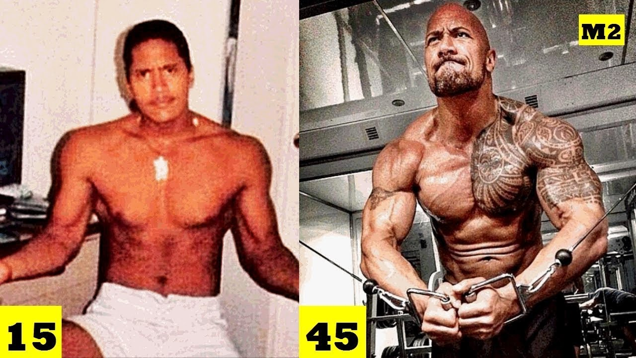 dwayne johnson the rock transformation from 1 to 45 year