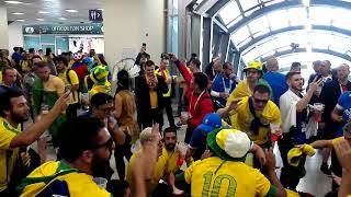 Brazilian fans making noise before match against Costa Rica in world cup 2018