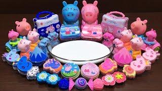 Peppa Pig Slime Pink Vs Blue | Mixing Random Things into Glossy Slime | Satisfying Slime Videos #286
