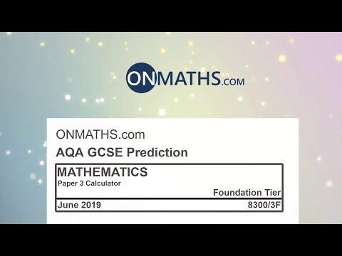 2019 AQA Foundation Paper 3 Maths GCSE Predicted Paper Calculator Exam 8300/3F June 2019 thumbnail