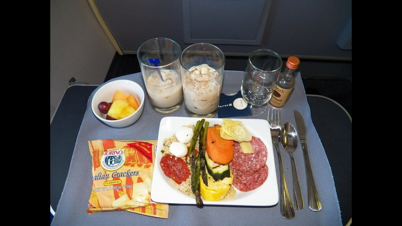 Hd united airlines food service first class domestic for American continental cuisine