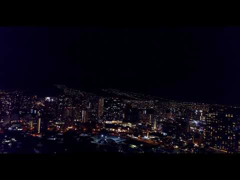4K DJI MAVIC PRO DRONE DOWNTOWN HONOLULU HAWAII WAIKIKI BEACH AT NIGHT.