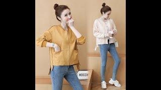 Женская замшевая куртка желтого и абрикосового цвета сезон осень весна модные корейские пальто