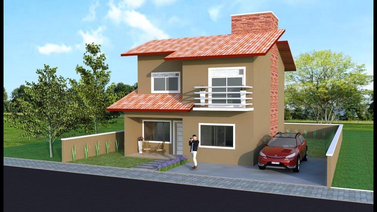 Casa simples telhado aparente sketchup pt2 2 youtube for Fotos de casas modernas com telhado aparente