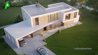 Дом в стиле Хай-Тек цена строительства, готовый проект, планировки | Дом Хай-Тек 350 кв.м | RH-355