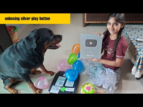 Unboxing silver play button||guard dog||funny dog videos||trained dog.