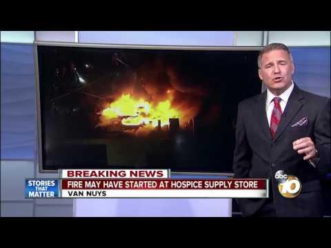 Large fire in Van Nuys