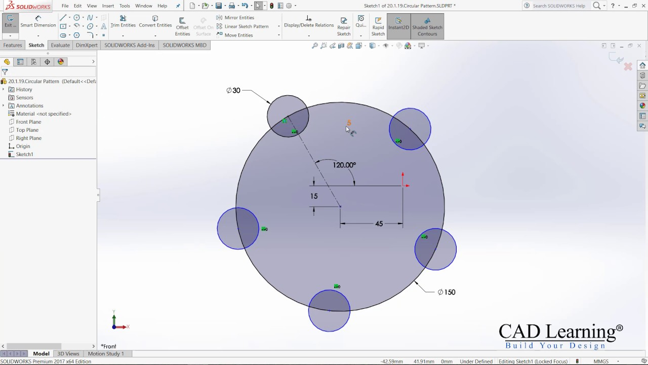 1 8  Circular Sketch Pattern - SolidWorks 2017