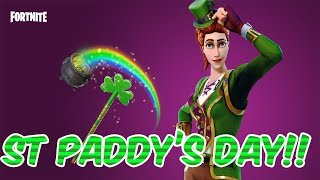 Fortnite Battle Royale - ST PADDY'S DAY SKIN!! - SGT GREEN CLOVER!! - 18 FRAG SOLO!!