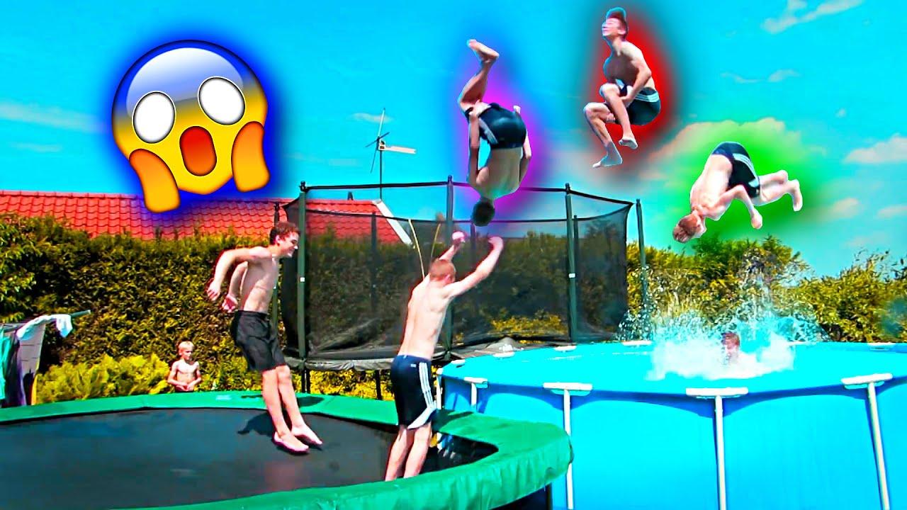 insane trampoline tricks 107 best backyard ever youtube