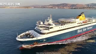BLUE STAR PAROS  -  Departure from  Port of Piraeus (Greece)  AERIAL DRONE VIDEO 4K