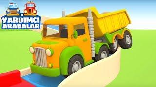Çizgi film. Yardımcı arabalar: damperli kamyon virajda kaldı! Erkek çocuklar için.