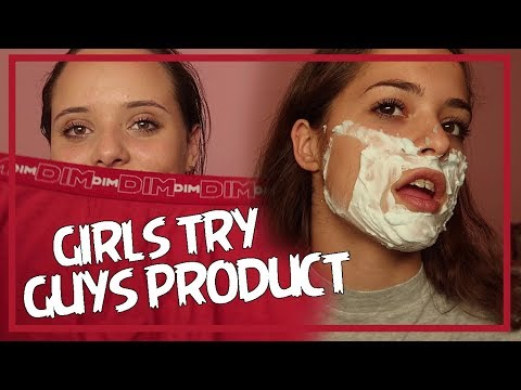 Girls try guys products
