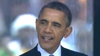 Phony Sign Language Interpreter At Mandela Memorial - Obama Speech