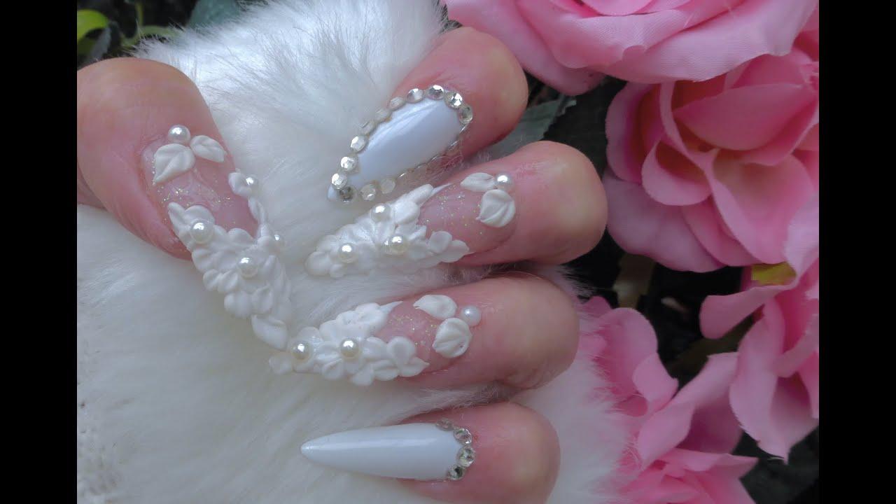 hollywood superstar wedding acrylic amp gel nails youtube
