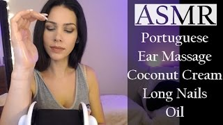 ASMR - Ear Massage   Portuguese whispers/Massagem nas orelha...
