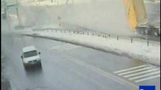 Dump truck destroys pedestrian bridge