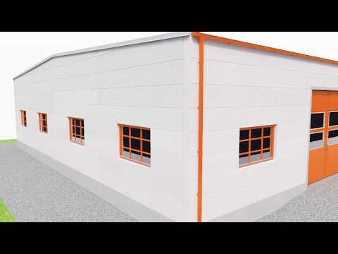 Errichtung von Industrie- und Gewerbegebäuden aus vorgefertigten Bauroc WANDPLATTEN