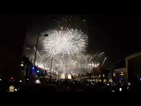 New Years Eve Fireworks Show Spanish Square Barcelona Spain Youtube