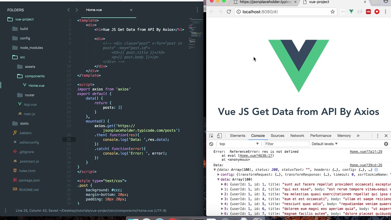 vuejs get data from api by axios