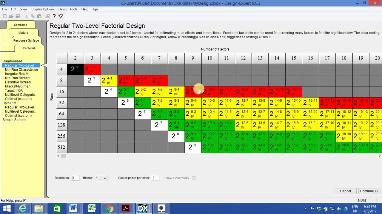 Design Expert Practice Design of experiment v 9 Example Response Surface  Method RSM Full Factorial