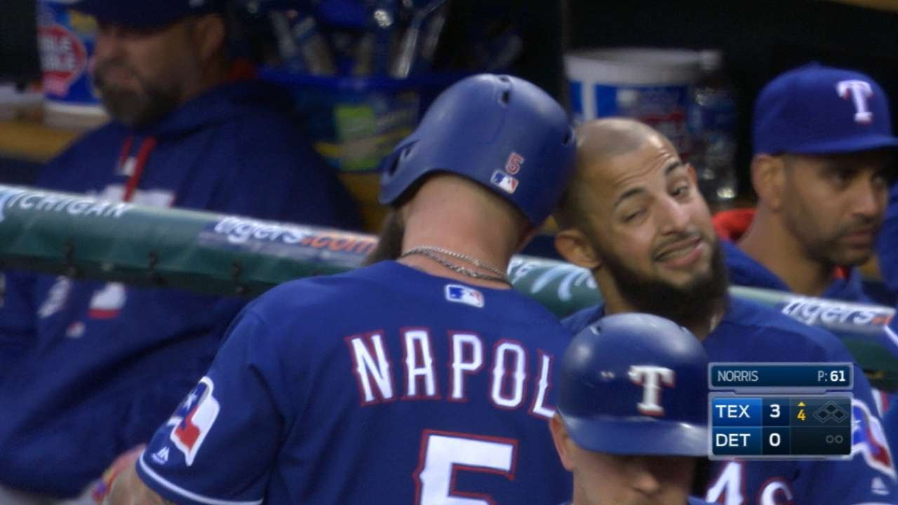 Darvish tops Tigers again, Napoli homers as Texas rolls 5-2 (May 21, 2017)