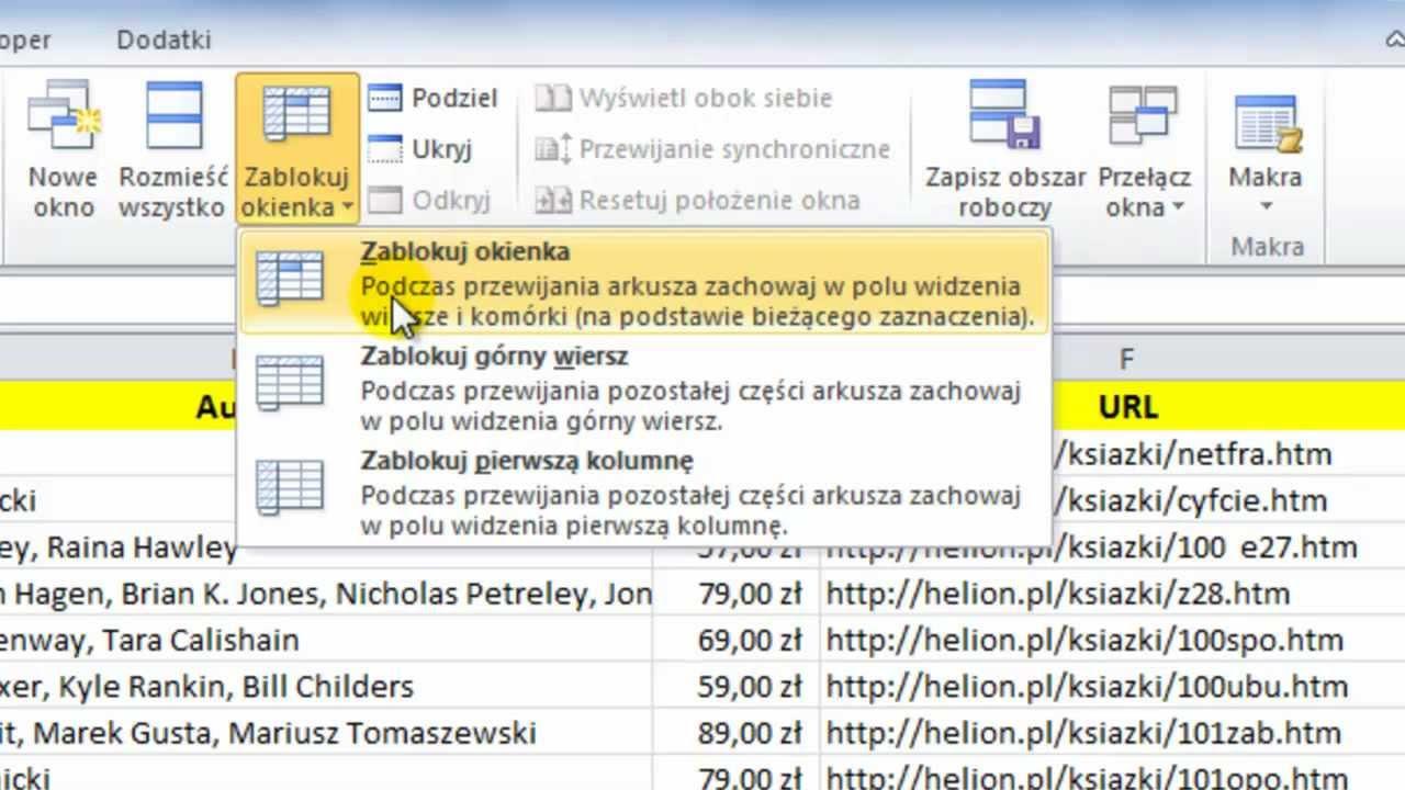 Kurs Microsoft Excel 2010 Odcinek 23 Blokowanie Okienek