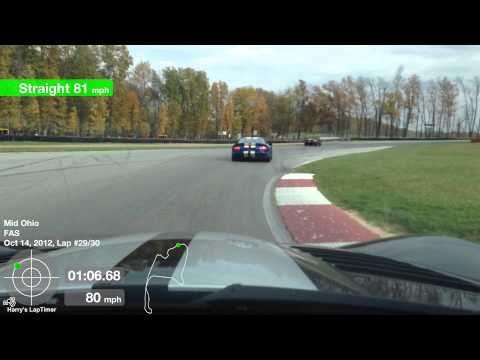 One lap at Mid Ohio Sports Car Course October 2012