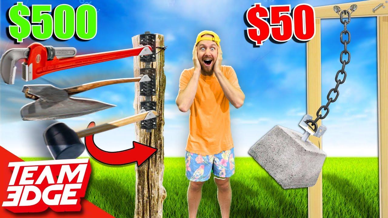$50 vs $500 GIANT Weapon Challenge!! *MASSIVE Destruction!*