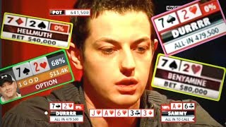 Phil Hellmuth and Tom Dwan GO CRAZY and BLUFF with 72o!!!