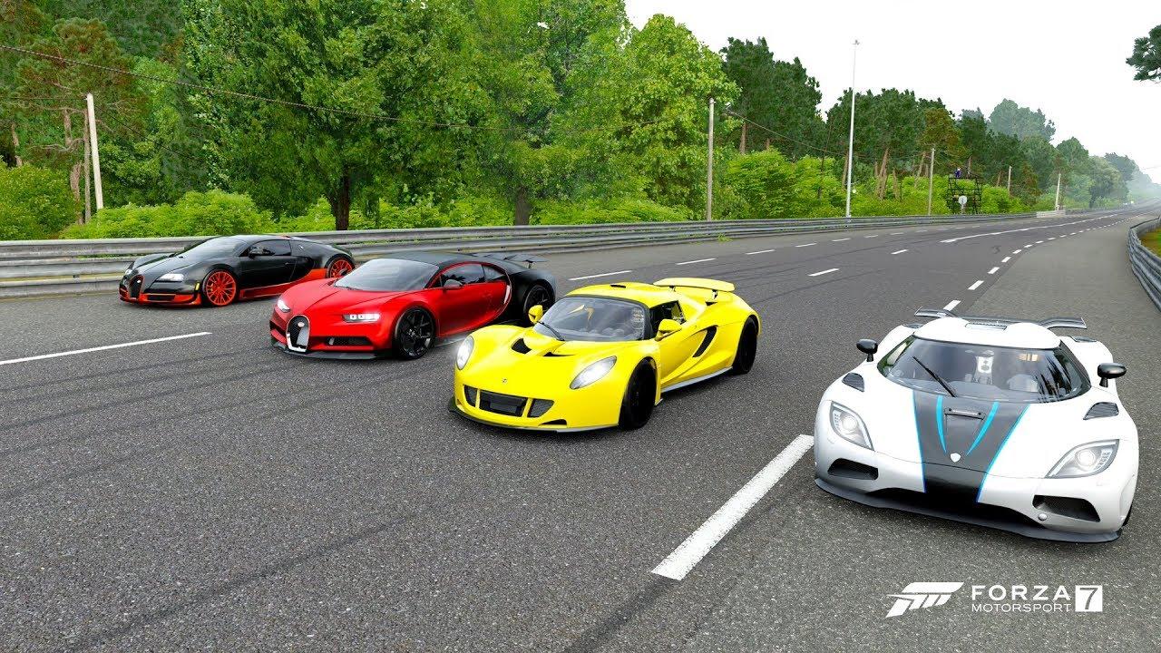 Forza 7 drag race bugatti chiron sport vs bugatti veyron ss vs venom gt vs koenigsegg agera r