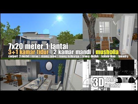 d47-denah-desain-rumah-7x20-meter-musholla-|-1-lantai-|-3-1-kamar-tidur-|-2-kamar-mandi-|