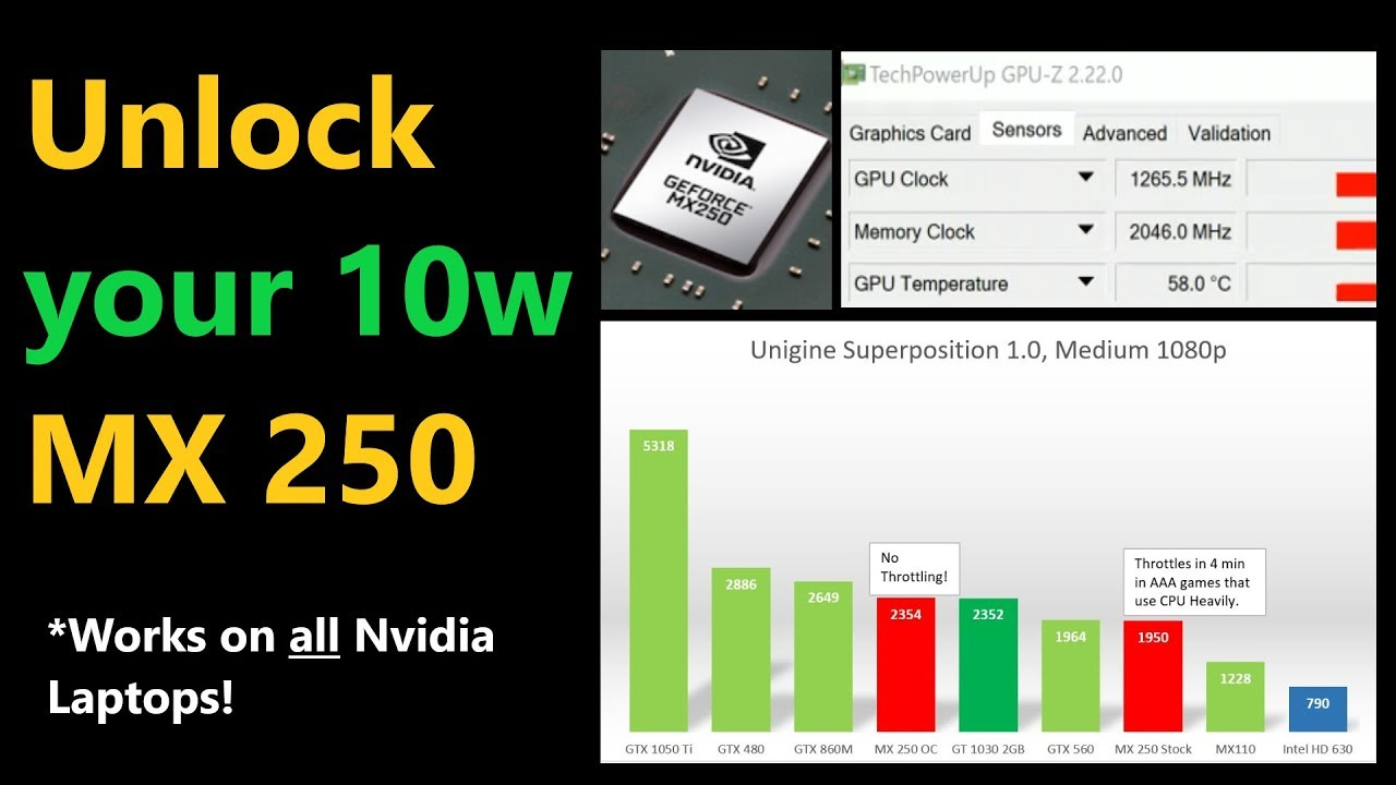 Nvidia Laptop Overclocking Guide [ MX250 & MX150 10w Review ]