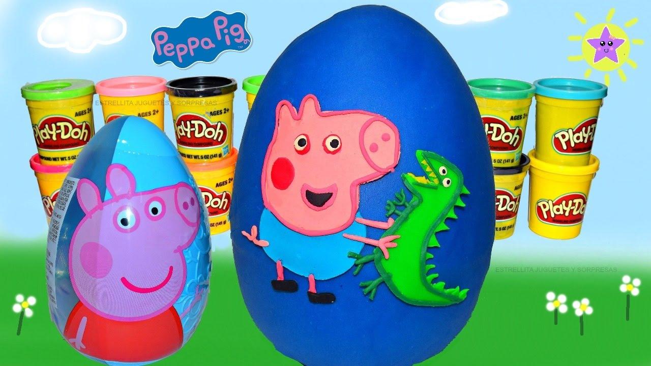 Y Juguetes Sorpresa George Gigante Peppa Plastilina Huevo Pig CedxorBW