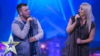 Lucy presses her Golden Buzzer for mother & son duo Sharon and Brandon | Ireland