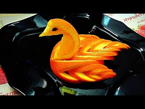 Lovely Orange Bird Garnish - Fruit Carving & Art in Orange Design - Cutting Decoration