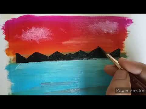 Acrylic painting simple and easy | landscape with Acrylic colours for beginners
