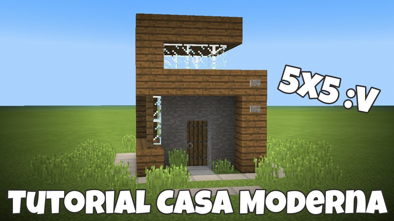 Minecraft pe tutorial casa survival 5x5 sencilla y for Tutorial casa moderna grande minecraft