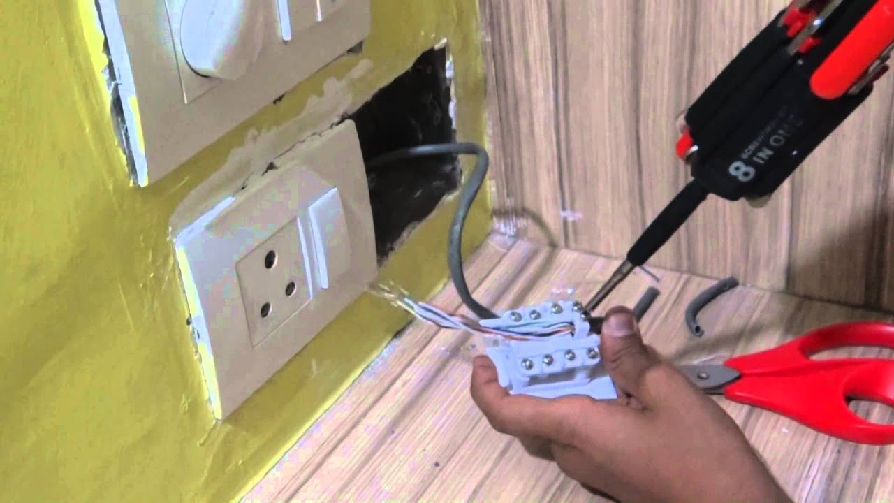 DIY: Connecting RJ45 Wall Socket in India(ROMA Company) - YouTube
